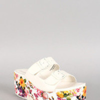 Dollhouse Floral Two Strap Open Toe Platform Flat Sandal