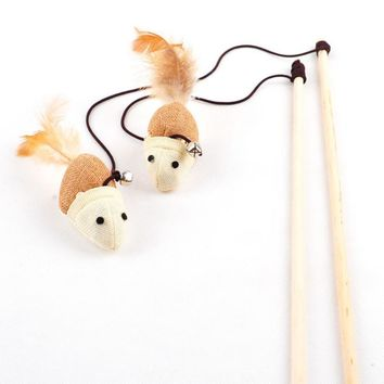 Cat Toys Interactive With Bells Elastic Rod Has a Funny Cat Mouse Pumpkin Feather Chick Fish Mascotas Toys Pets Toys