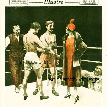 1934 Box Match, French vintage print, Old newspaper cover, 2 Boxers on the ring, Vintage sport scene