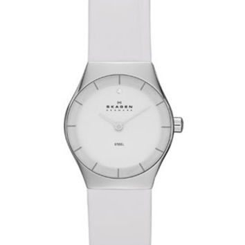 Skagen Klassik Ladies White Leather Strap Watch - Stainless Steel