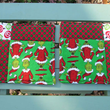 Handmade Grinch Christmas Quilted Trivet, Pot Holder or Hot Pad Set, Reversible, Candle Mat, Potholder Gift Set, Insul-Bright