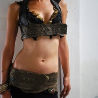 Studded Leather Bodice / Top with Kuchi Jewelry by ZaharaHipRoses