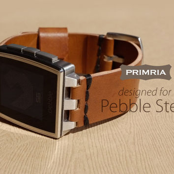 Leather Strap for Pebble Steel - Coffee Brown
