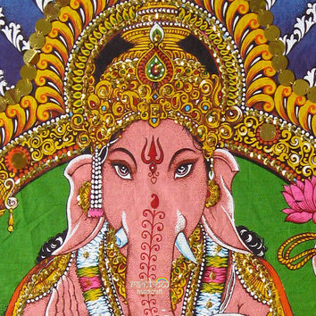 Indian elephant head hindu religious god deity ganesh ganesha ganpati sequin cotton painting wall hanging tapestry ethnic yoga decor art