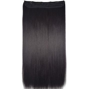 LMF78W TOPREETY Heat Resistant B5 Synthetic Hair Fiber 24' 60cm 120gr Straight 5 Clips on clip in Hair Extensions 90 Colors Available