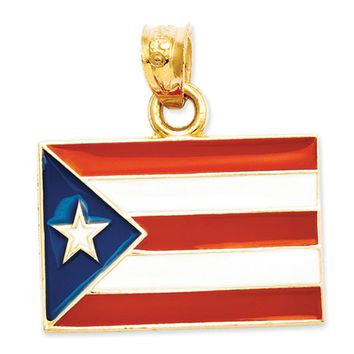 14k Yellow Gold Enameled Flag of Puerto Rico Pendant