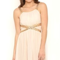 Chiffon Carefree Holiday Dress with Sequin Accents