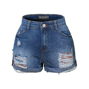 LE3NO Womens Casual Distressed Ripped Mid Rise Denim Shorts with Rolled Cuff