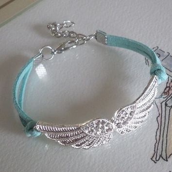 Bracelet, Diamond Sideway Angel Wings Bracelet, Crystal Charm Bracelet Green mint suede, sister best friend girlfriend Gift, Friendship Gift