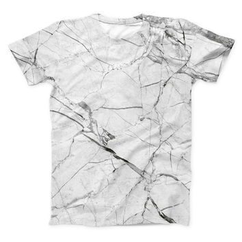 The Cracked White Marble Slate ink-Fuzed Unisex All Over Full-Printed Fitted Tee Shirt