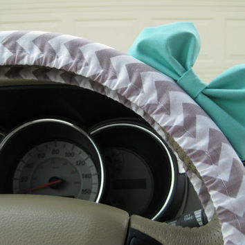 The Original Small Weathered Grey Chevron Steering Wheel Cover with Matching Seafoam Blue Bow