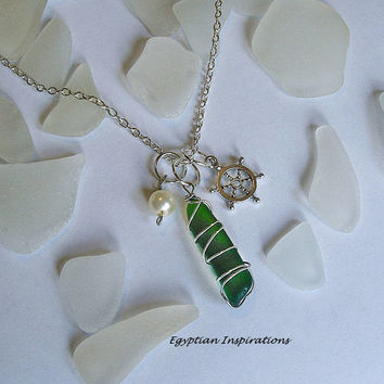 Sea glass necklace. Sea glass jewelry. Wire wrapped beach glass necklace.