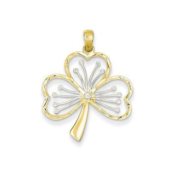 14k Yellow Gold and White Rhodium Three Leaf Clover Pendant, 23mm