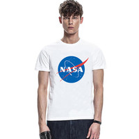 Geek NASA Logo 2016 Summer Mens Sublimation Graphic Print T-shirt Skatboard Hip Hop Male White Printed Tshirt Bat Man
