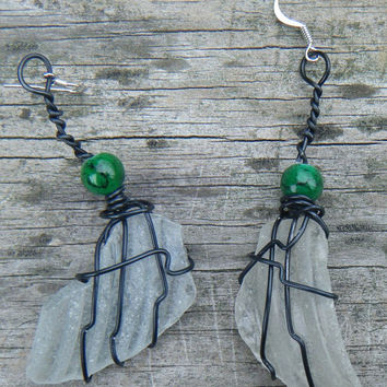 Beach Jewels. Wire Wrapped Sea Glass Earrings. Sea Glass Bottle Top Earrings wrapped in black with green beads. . ON SALE WAS 12.00
