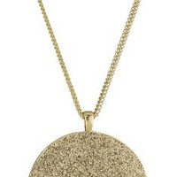 "Kenneth Cole New York ""Holiday Boxed"" Gold Glitter Circle Pendant Necklace"
