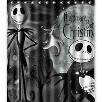 "2015 Hot sale Free Shipping Custom The Nightmare Before Christmas waterproof Shower Curtain 60"" x 72""  best gift Halloween"
