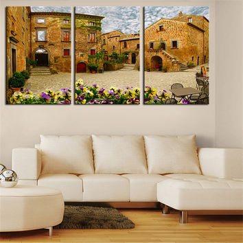 NO FRAME 3pcs banyoregio small italian town Printed Oil Painting On Canvas Oil Painting for Home Decor Wall Decor