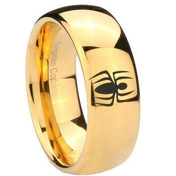 8mm Spiderman Dome Gold Tungsten Carbide Mens Wedding Ring