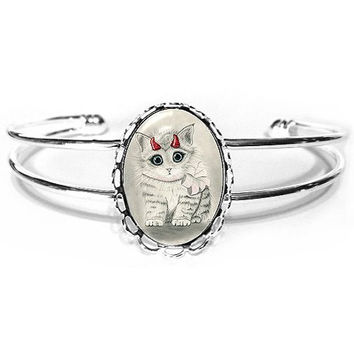 Little Devil Cat Bracelet Cute Devil Kitten Fantasy Cat Art Silver Cat Cameo Bracelet 25x18mm Gift for Cat Lovers Jewelry