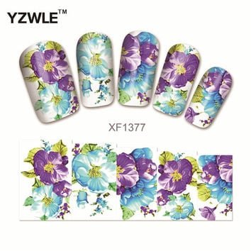 YZWLE 1Pcs Nail Art Water Sticker Nails Beauty Wraps Foil Polish Decals Temporary Tattoos Watermark(YZW1377)