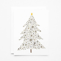 Christmas Card Set | Starry Christmas Tree Holiday Card Set, Illustrated Christmas Cards