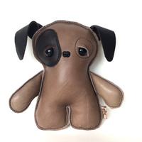 Plush Teddy Bear Dog - Original Gift , Pup,Toy, Gift for Her, Shower Gift, Brown Dog By Leather Monsters