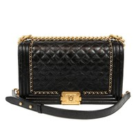 Chanel Black Calfskin Braided Jacket Large Boy Bag