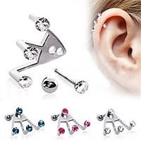 Trident Triple Round CZ Cartilage Earring