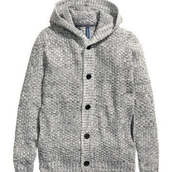 H&M - Hooded Cardigan - Gray - Men