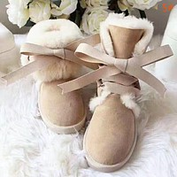 UGG Women New Fashion High Quality Bow-Knot Keep Warm Personality Shoes