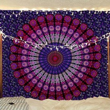 Pink and Purple Radical Mandala Tapestry  54x72in