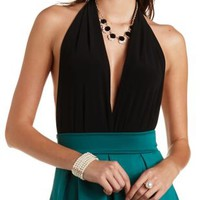 Plunging Halter Bodysuit by Charlotte Russe