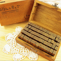 70 piece Wooden Alphabet Rubber Stamp Set in Vintage Gift Box