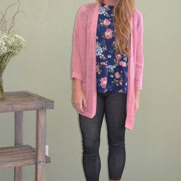 Open Front Pocket Knit Cardigan: Rose