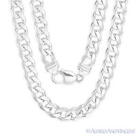 Solid .925 Sterling Silver Cuban Curb 9mm Link Italy-Made Men's Chain Necklace