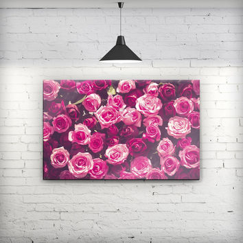 Vibrant Pink Vintage Rose Field - Fine-Art Wall Canvas Prints