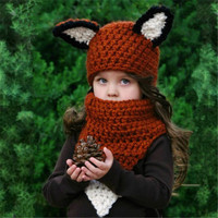 2 PCs Scarf & Cap Suit Autumn Winter Kids Warm Handmade Knit Beanie Cartoon Fox Funny Hat Christmas gift