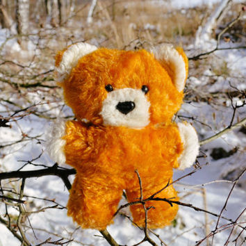 Vintage Orange Teddy Bear / Soviet Mid Century Woodland Bear / Stuffed Mohair Plush Toy, Circa 1970's