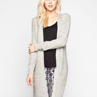 Poof Excellence Marled Shaker Stitch Maxi Cardigan Grey  In Sizes