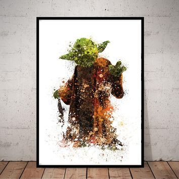 Yoda Best Dad Movie Poster Yoda Art Poster,- Wall Art Print Poster of the Original Watercolor Painting - 198