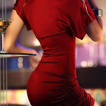 Red Short Sleeve Zippered Bodycon Dress