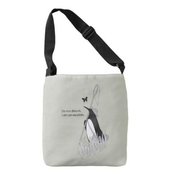 Penguin on Vacation Funny and Chic Tote Bag