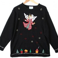 Quacker Factory Angel in Plaid Tacky Ugly Christmas Sweater Women's Plus Size 1X/2X $28 - The Ugly Sweater Shop