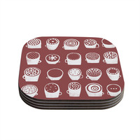 "Alik Arzoumanian ""Coffee Ring"" Maroon White Coasters (Set of 4)"