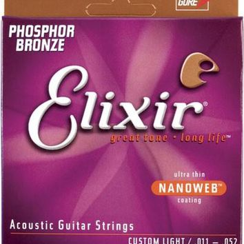 Elixir 16027 Nanoweb Coated Phosphor Bronze Acoustic Guitar Strings, Custom Light