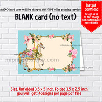 Instant Download, blank Card, Carouse #698 Merry go round, food tent Card, place card, 3.5x2.5inch printable , non-editable NOT CUSTOMIZABLE