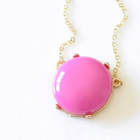 Glossy Bubble Necklace - Hot Pink