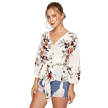 Flower Print Gathered Sleeve Wrap Blouse White V Neck Puff Sleeve