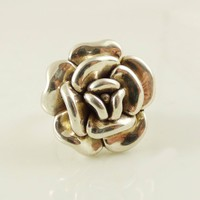 Sterling silver 925 electroform puffy flower ring